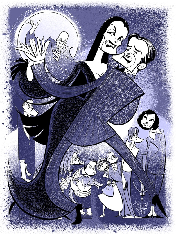 Family Portrait! Squigs Illustrates Brooke Shields and the Ghoulish Gang of The Addams Family