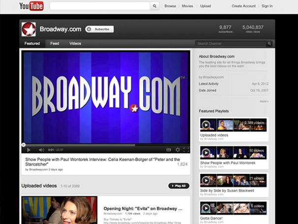 Broadway.com Videos Reach 5 Million YouTube Views Becoming Broadway's #1 Video Channel