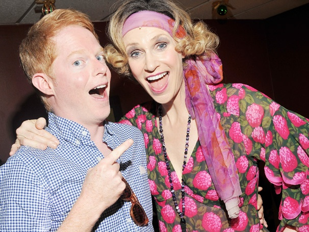 Jesse Tyler Ferguson Hangs with the Hounds (and Jane Lynch) Backstage at Annie