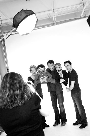 Avenue Q Final Cast Photo Shoot - Carol Rosegg - Jennifer Barnhart - Christian Anderson - Robert McClure