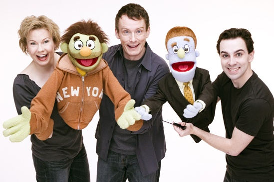 Avenue Q Final Cast Photo Shoot - Jennifer Barnhard - Christian Anderson - Robert McClure (nicky and rod)