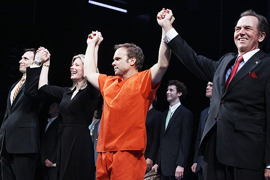Enron opening  cc  Stephen Kunken  Marin Mazzie  Norbert Leo Butz  Gregory Itzin
