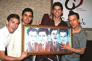 Photo Op - Jersey Boys Portrait Unveiling -  Daniel Reichard - John Lloyd Young - J. Robert Spencer - Christian Hoff (getting funky)