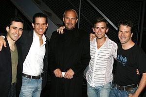 Photo Op - Kevin Costner at Jersey Boys - John Lloyd Young - Christian Hoff - Kevin Costner - Daniel Reichard - Steve Gouveia