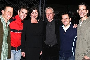 Catherine Zeta-Jones and Michael Douglas Visit Jersey Boys - Christian Hoff - Daniel Reichard - Catherine Zeta-Jones - Michael Douglas - John Lloyd Young - J. Robert Spencer
