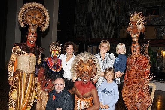 Kathie Lee Gifford and Phil Collins at the Lion King – Dana Tyler – Dashaun Young – Derek Smith – Nathaniel Stampley – Tshidi Manye – Phil Collins – Family – Nanny