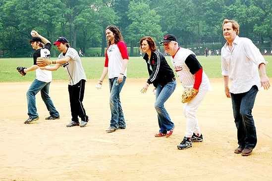 Broadway Softball May 2009  Andy Karl  Hunter Foster  Constantine Maroulis  Haydn Gwynne  Gregory Jbara  Jeff Daniels