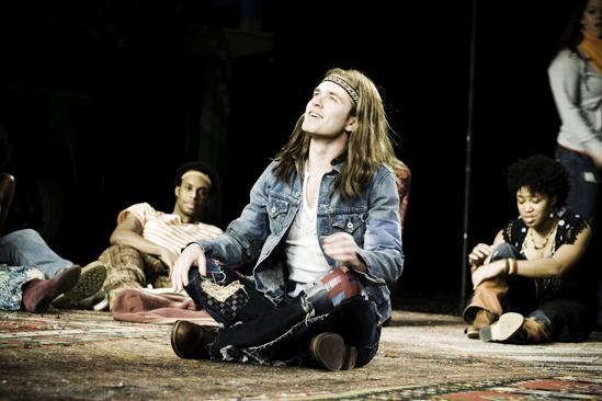 Hair Replacement Cast Rehearsal – Kyle Riabko cross-legged