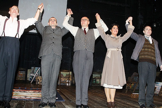 Pitmen Painters Opening Night  curtain call (five people)