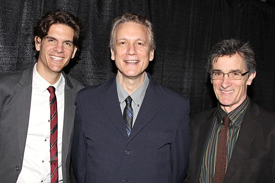 <I>Peter and the Starcatcher</I> directors Alex Timbers and Roger Rees flank playwright Rick Elice.
