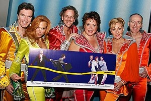 Photo Op - Mamma Mia! Outruns The Producers - Christopher Shyer - Carolee Carmello - Pearce Bunting - Gina Ferrall - Judy McLane - Ben Livingston