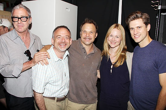 Catch Me If You Can 100th Performance  Scott Wittman  Marc Shaiman  Norbert Leo Butz  Laura Linney  Aaron Tveit
