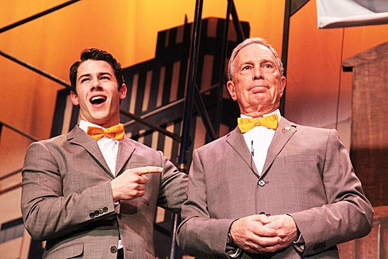 Bloomberg and How to Succeed Cast – Nick Jonas – Michael Bloomberg (pointing)
