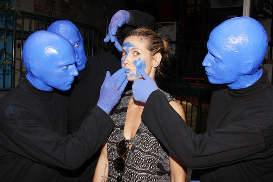 Blue Man Group – Heidi Klum Visit – Blue Men – Heidi Klum