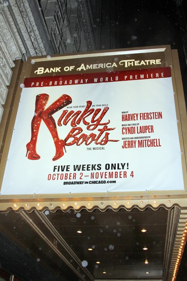 The marquee of Kinky Boots in Chicago