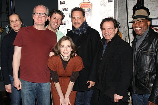 Whos Afraid of Virginia Woolf?  Tom Hanks and Peter Scolari Visit  Amy Morton  Tracy Letts  Madison Dirks  Carrie Coon  Tom Hanks  Peter Scolari  Marc Damon Johnson