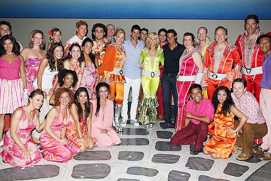 Novak Djokovic and Rafael Nadal at Mamma Mia – group shot