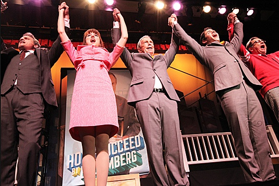 Bloomberg and How to Succeed Cast  Michael Park  Stephanie Rothenberg  Michael Bloomberg  Nick Jonas  Beau Bridges