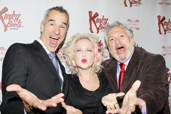 Jerry Mitchell, Cyndi Lauper and Harvey Fierstein celebrate the opening of Kinky Boots in Chicagp