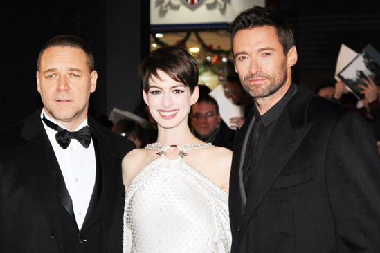 Les Miserables London premiere  Russell Crowe  Anne Hathaway  Hugh Jackman