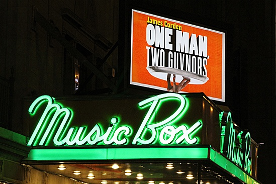 One Man, Two Guvnors opening night – Music Box Theatre marquee
