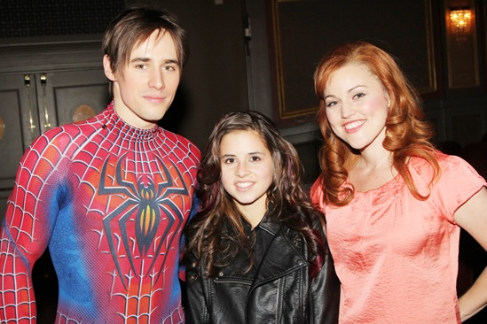Carly Rose Sonenclar visits &#39;Spider-Man&#39; - Reeve Carney - Carly Rose Sonenclar - Rebecca Faulkenberry