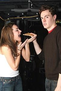 Photo Op - Jersey Boys in SF - Jackie Seiden - Erich Bergen (pizza)