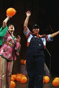 Photo Op - Avenue Q plays 1,500 performance - Ann Sanders - Carmen Ruby Floyd (balloons)