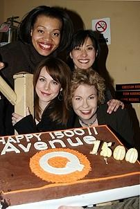 Photo Op - Avenue Q plays 1,500 performance - (with cake) Carmen Ruby Floyd - Ann Sanders - Mary Faber - Jennifer Barnhart