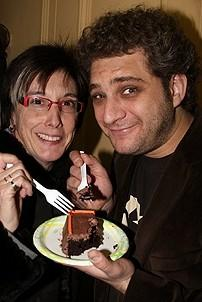Photo Op - Avenue Q plays 1,500 performance - (with cake) - Robyn Goodman - Jeff Marx