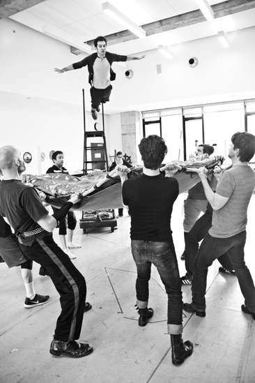 Peter and the Starcatcher Rehearsal  Adam Chanler-Berat Flying