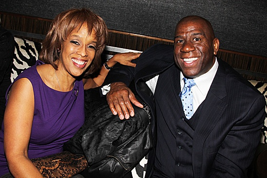 Magic.Bird Opening Night  Gayle King  Magic Johnson 