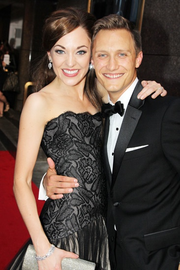 Tony Red Carpet- Laura Osnes- Nathan Johnson