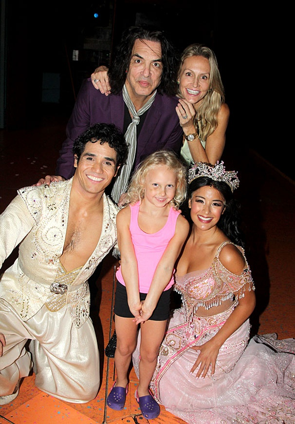 Aladdin - Paul Stanley Visit - Adam Jacobs - Paul Stanley - Sarah Stanley - Erin Stanley - Courtney Reed