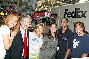 Photo Op - Mamma Mia! Fed Ex Event - Carolee Carmello - Joseph Perrone - Carey Anderson - Suzanne Elliott Armstrong - Manuel Cordova - Gina Ferrall