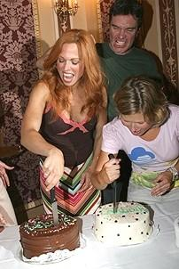 Photo Op - Mamma Mia! Fed Ex Event - Carolee Carmello - Christopher Shyer - Carey Anderson  (cut cake)