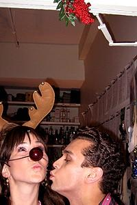 Photo Op - Holidays at Jersey Boys - Sara Schmidt - Michael Longoria (kissing)
