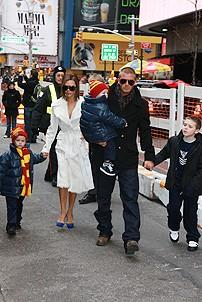 Beckham Family at Little Mermaid - David Beckham - Victoria Beckham - two kids