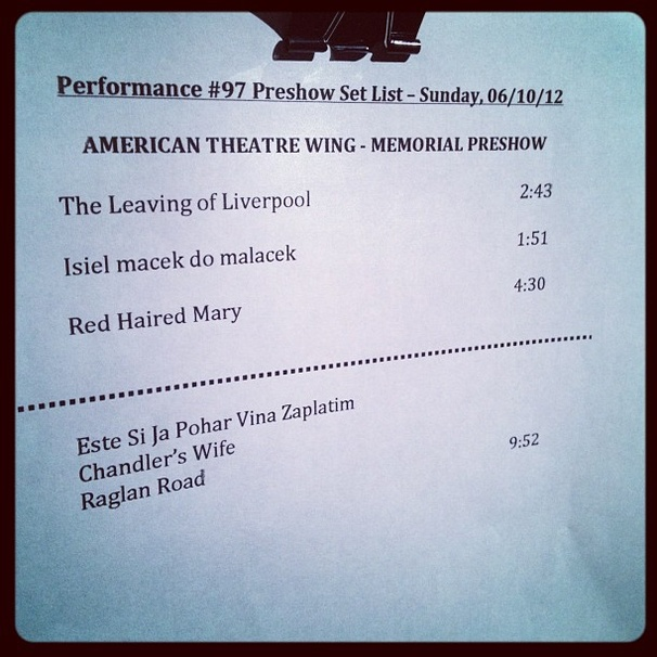 2012 Tony Awards Instagram Snapshots – Once Set List