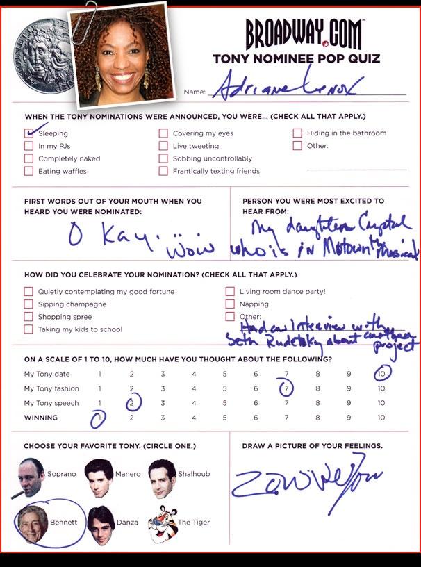Tony Nominee Pop Quiz - Adriane Lenox