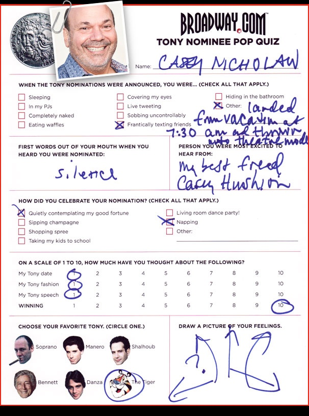 Tony Nominee Pop Quiz - Casey Nicholaw