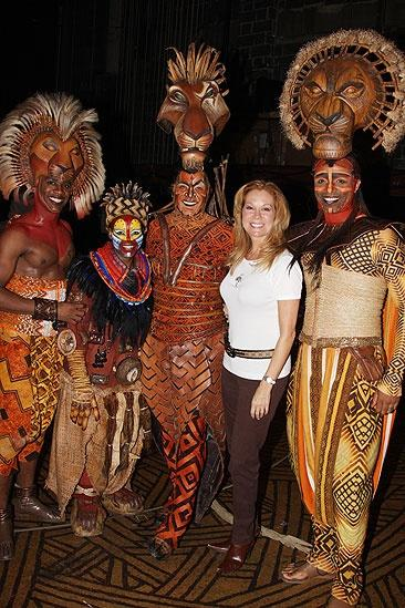 Kathie Lee Gifford and Phil Collins at the Lion King  Kathie Lee Gifford  Dashaun Young  Derek Smith  Nathaniel Stampley  Tshidi Manye