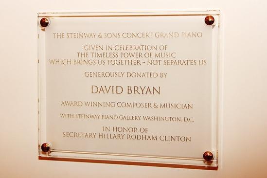 David Bryan Grand Piano to State Department – David Bryan Plaque