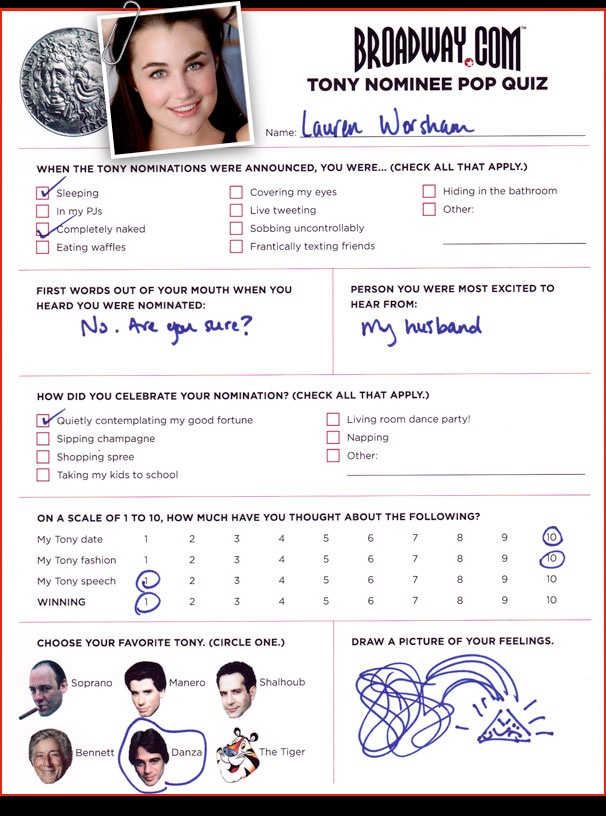 Tony Nominee Pop Quiz - Lauren Worsham