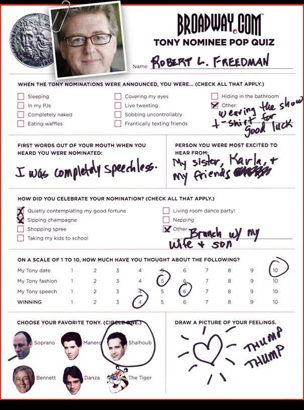 Tony Nominee Pop Quiz - Robert L. Freedman