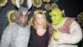 Shrek the Musical stars Daniel Breaker and Brian d'Arcy James giveHeidi Klum a thumbs-up during her backstage visit.