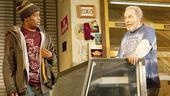 Jon Michael Hill as Franco Wicks and Michael McKean as Arthur Przybyszewski in Superior Donuts.