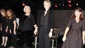 After sharing colorful stories onstage, the dressed-in-black cast of Love, Loss and What I Wore takes a bow. From left: Mary Louise Wilson, Lisa Joyce, Tyne Daly, Jane Lynch and Mary Birdsong.
