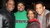 Memphis featured players J. Bernard Calloway, James Monroe Iglehart and Derrick Baskin squeeze in for a shot with Ms. Woodard.