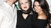 Pop icon Cyndi Lauper gets between the headliners at her latest True Colors cabaret, Spring Awakening alums Jonathan Groff and Lea Michele.